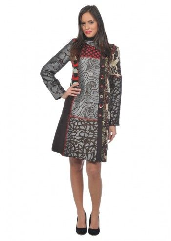 Desigual, Woman Geisha Red&Brown Coat