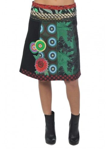 Desigual, Woman Christine Black&Green Skirt