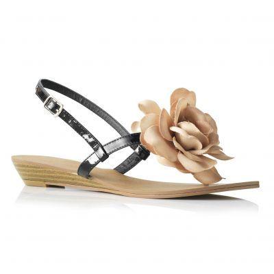 Sandale fara toc cu flori pentru femei