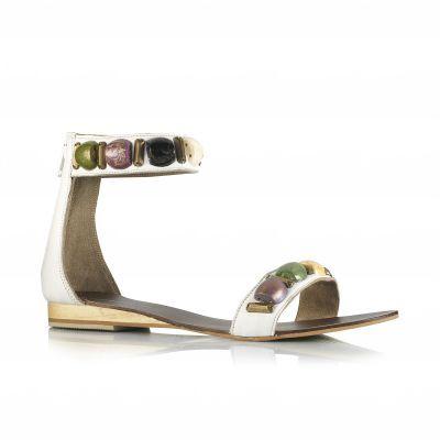 Sandale din piele perlată