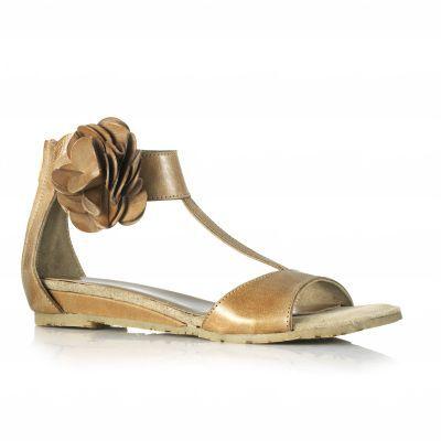 Sandale cu floare din piele pentru femei