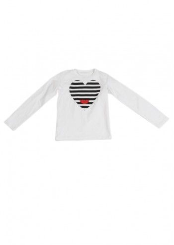 Love Made Love, Girls Striped Heart White Blouse