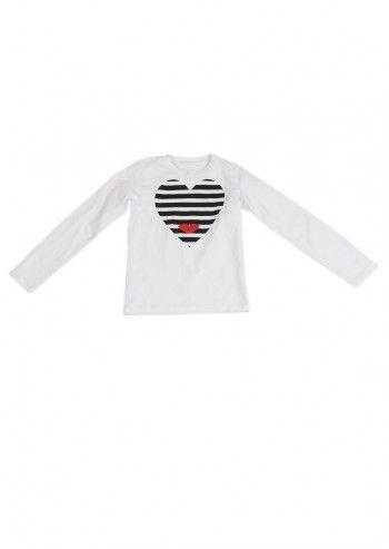 Love Made Love, Girls Striped Heart White Blouse