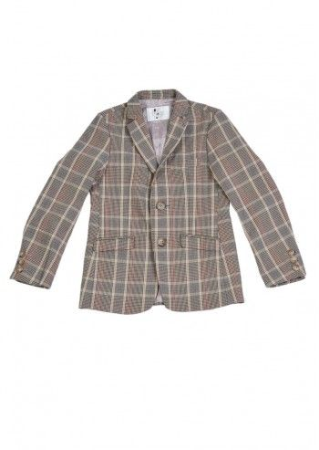 Love Made Love, Boys Beige Houndstooth Checkered Blazer