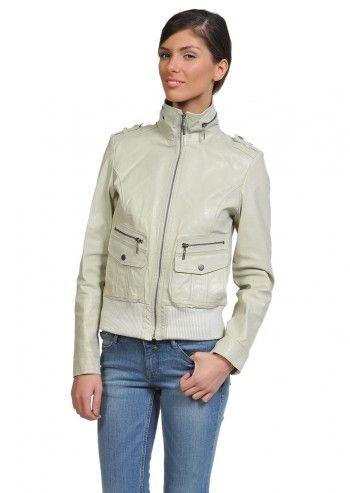 Tom Tailor, Woman Casper Ecrue Leather Jacket