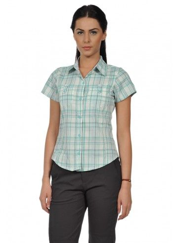 Regatta, Woman Jenna White&Celadon Checked Shirt