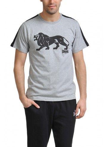 Lonsdale, Man Melange Gray Lion T-shirt