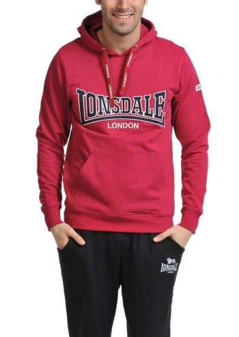 Lonsdale, Man Raspberry Red Cassabian Hoodie
