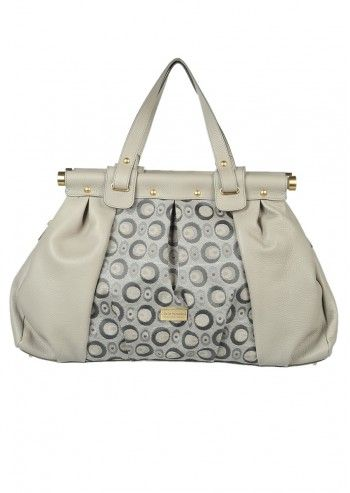 Carla Rossini, Octavia Light Gray Leather Shoulder Bag