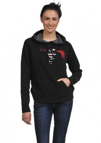 Converse, Woman Street Fashion Black Hoodie