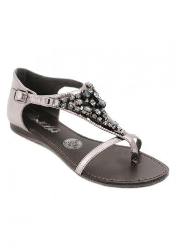 Red Hot, Woman Anemone Silvery&Gray Flat Sandals