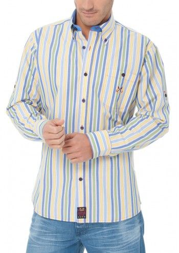Spagnolo, Man Know Your Line Sapphire&Yellow Striped Shirt