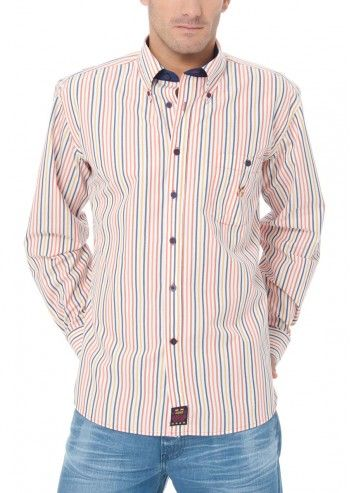 Spagnolo, Man Know Your Line Navy&Salmon Striped Shirt
