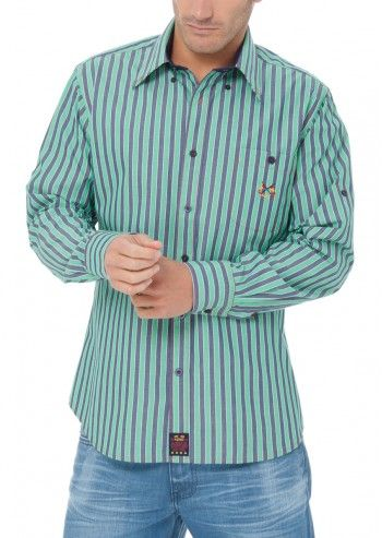Spagnolo, Man Know Your Line Jade&Navy Striped Shirt