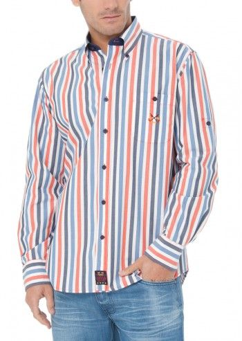 Spagnolo, Man Wall Street Red&Navy Striped Shirt
