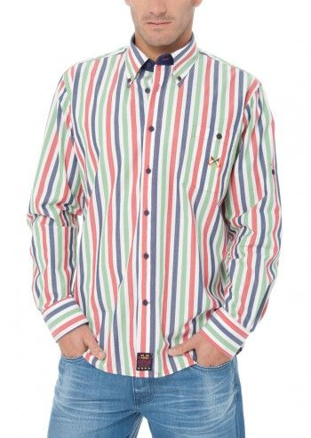 Spagnolo, Man Wall Street Red&Jade Striped Shirt