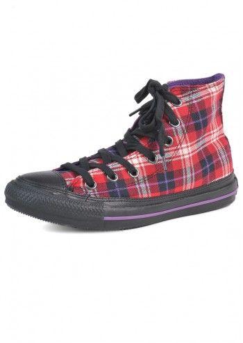 Converse, Unisex Red&Violet Plaid High Sport Shoes