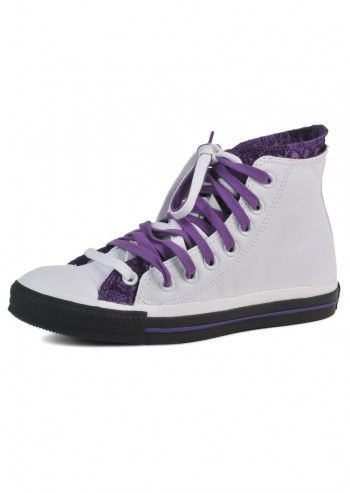 Converse, Unisex Champions White&Purple High Sneakers