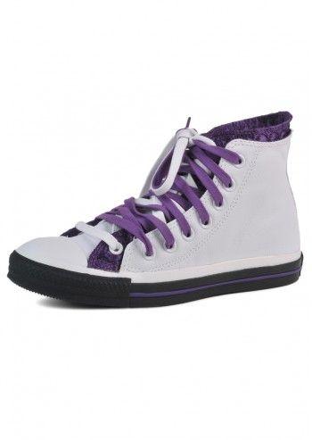 Converse, Unisex Champions White&Purple High Sneakers