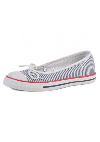 Converse, Woman Sailor Girl White&Navy Comfortable Flats