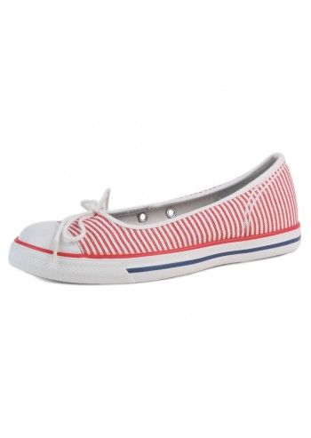 Converse, Woman Sailor Girl White&Red Comfortable Flats