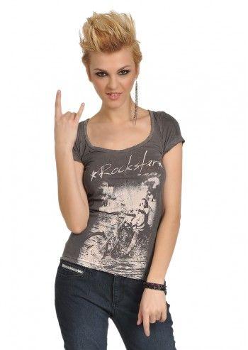 Rockstar Sushi, Woman Anna Moorish Gray T-shirt