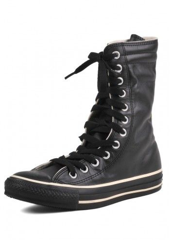 Converse, Unisex Style Snap Black Leather High Sneakers