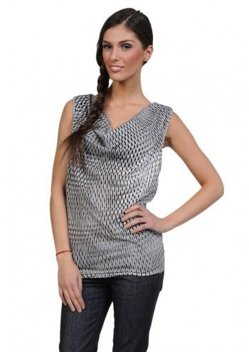 Diesel, Woman Gray Printed Top