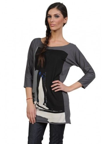 Diesel, Woman Tectyx Gray Blouse