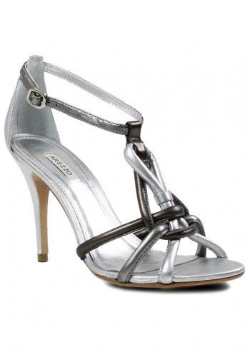Arezzo, Luna Silver Leather Sandals