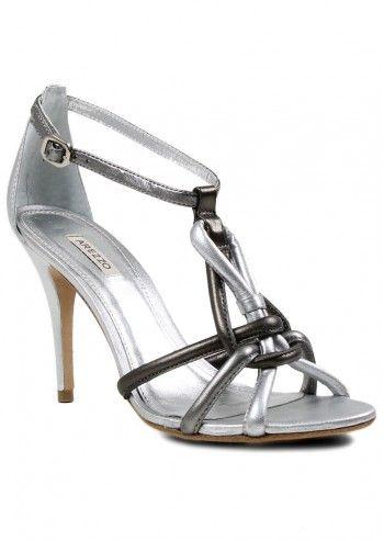 Arezzo, Luna Silver Leather Sandals