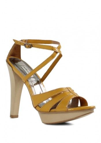 Arezzo, Lorona Mustard Yellow Leather Sandals