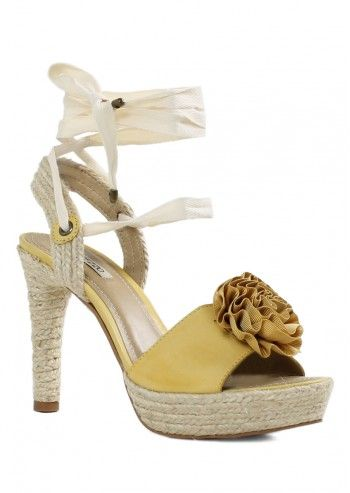 Arezzo, Jamelia Mustard Yellow Leather Sandals