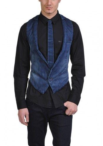 Calvin Klein Jeans, Man Dominique Blue Navy Denim Vest