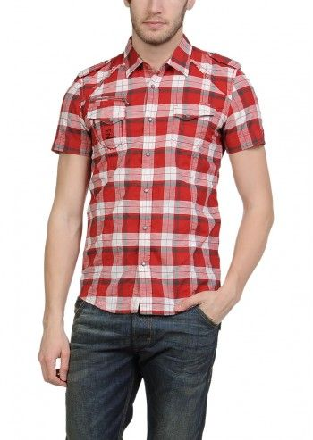 Diesel, Man Seer Red&White Checked Shirt