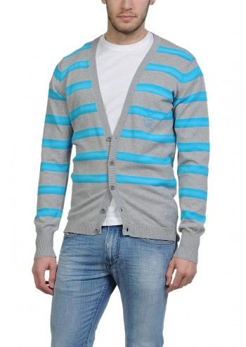 Diesel, Man Kingiss Gray&Blue Striped Cardigan
