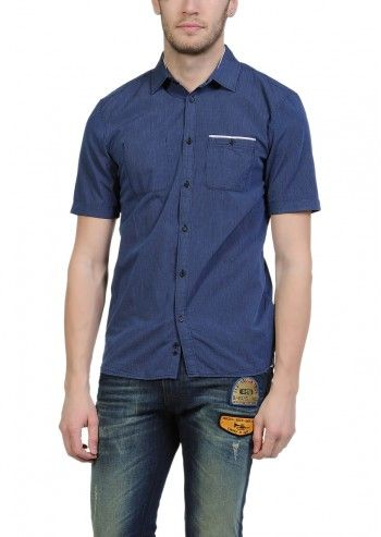 Diesel, Man Skena Slim Fit Navy&Grey Striped Shirt
