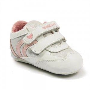 Pantofi albi, cu detalii roz, marca Geox