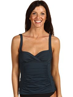 Calvin Klein (CK) Solids Shirred Overlap Tankini Top