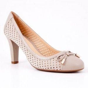 Pantofi Geox gri cu toc