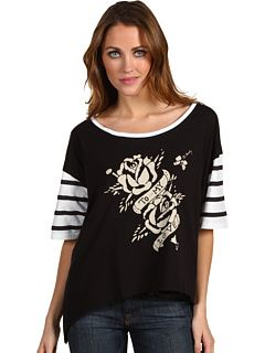 Ed Hardy To My Love Striped S/S Top