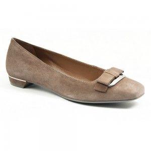 Pantofi clasici din piele intoarsa, cu fundita