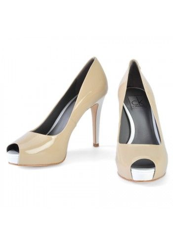 CK, Sandy Leather Peep-Toe