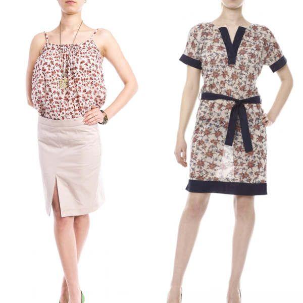 Maieu si rochie cu maneci kimono cu imprimeu floral