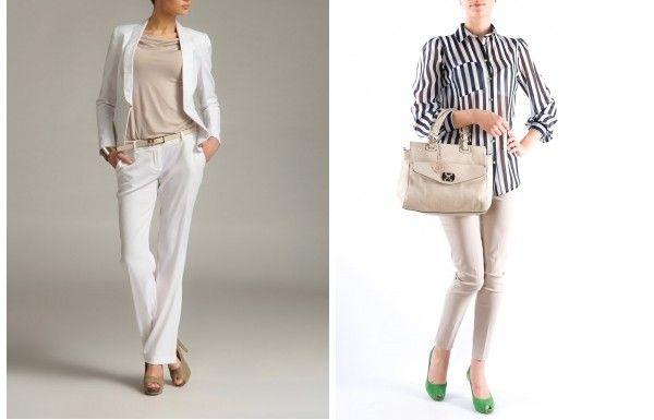 Pantaloni cu croiala skinny albi, bej