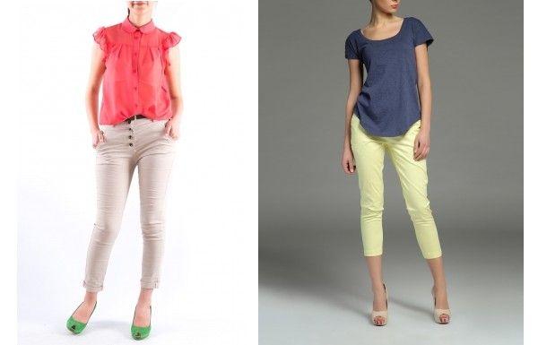 Pantaloni cu croiala skinny, colorati