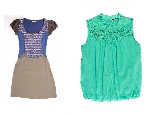 Rochie bej cu platca flori albastre si rosii; Bluza verde cu platca din dantela florala