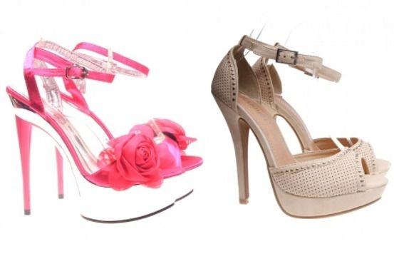 Sandale bej si roz cu toc inalt si platforma