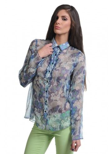 Gas, Refined Blue And Green Floral Shirt