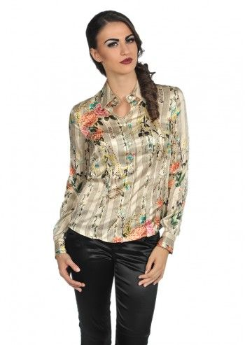 Galliano, Dorian Floral Beige Shirt